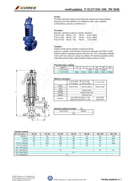 Ventil pojistný pro kapaliny, páry typ P15 217 616 / 540
