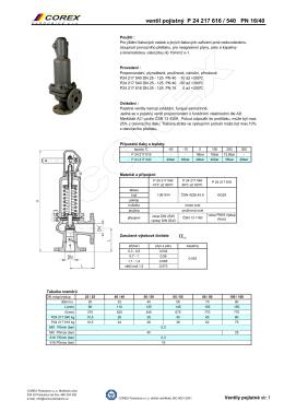 Ventil pojistný pro kapaliny, páry a plyny typ P24 217 616 / 540