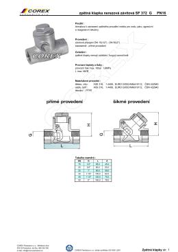 Zpětná klapka závitová nerezová pro agresivní tekutiny SF 372G