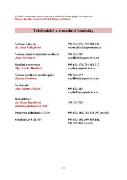 Kontakty na pracovníky Domova Beruška