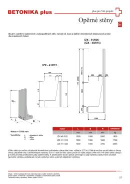 opěrné stěny – technické listy