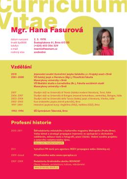 Mgr. Hana Fasurová