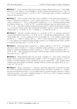 6TT Termomechanika Cvicenı 9: Prenos tepla I (vedenı a konvekce