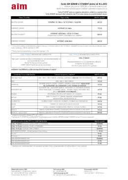 Ceník AIM SENIOR A STUDENT platný od 10.4.2012