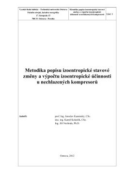 Metodika popisu izoentropické stavové změny a výpočtu