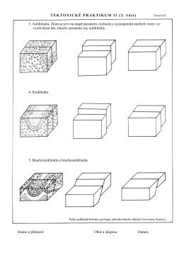 TEKTONICKÉ PRAKTIKUM II (2. část) 3. Antiklinála. Zlom se jeví na
