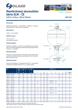 Membránový akumulátor Série ELM - CE