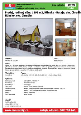 Prodej, rodinný dům, 1399 m2, Hlinsko - Rataje, okr