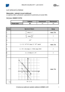 Maturitní zkouška 2011 - jarní termín KLÍČ