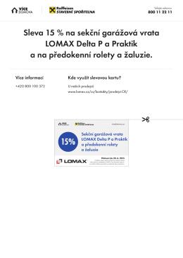 Sleva 15 % na sekční garážová vrata LOMAX Delta P