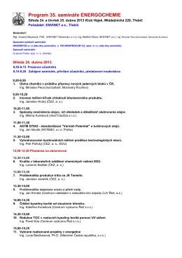 Program 35. semináře ENERGOCHEMIE