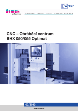CNC – Obráběcí centrum BHX 050/055 Optimat