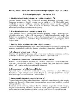 Předškolní pedagogika (Mgr. 2013/2014)