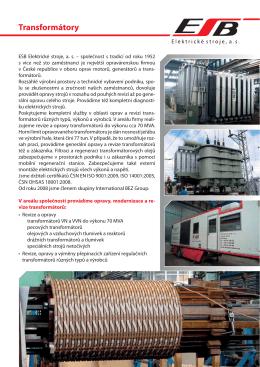 Transformátory - BEZ TRANSFORMÁTORY a.s.