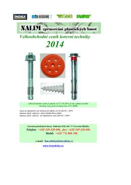 Velkoobchodní ceník kotevní techniky 2014