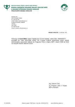 Potvrzuji, že Karel Mifek, bytem Tatobity 56, 512 53 Tatobity, rodné