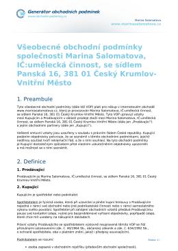 Všeobecné obchodní podmínky společnosti Marina Salomatova, IČ