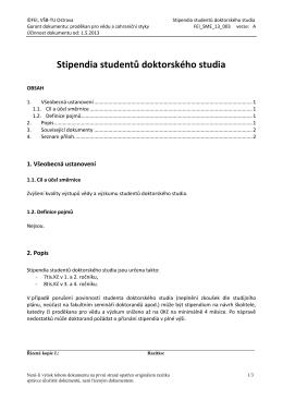 Stipendia studentů doktorského studia