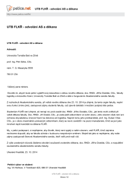 UTB FLKŘ - odvolání AS a děkana Petice.net