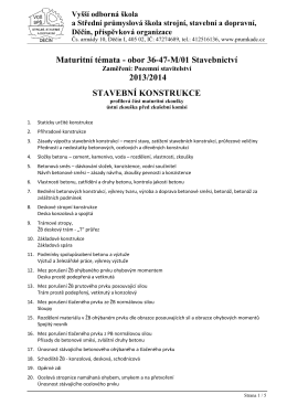 zaměření POZEMNÍ STAVITELSTVÍ - Vyšší odborná škola a Střední