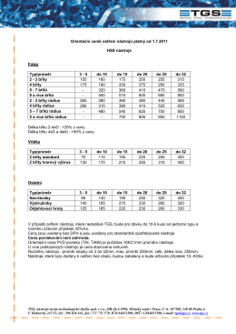 Orientační ceník ostření nástrojů platný od 1.7.2011 HSS nástroje