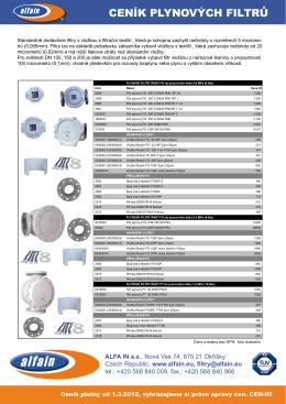 Plynové filtry - PK Realizace sro