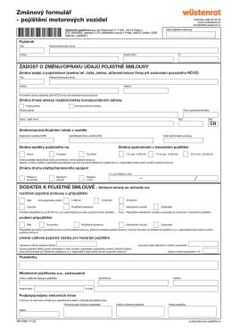 Změnový formulář – pojištění motorových vozidel
