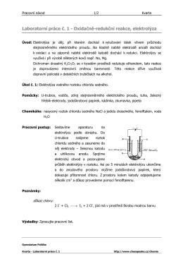 Laboratorní práce č. 1 - Oxidačně-redukční reakce