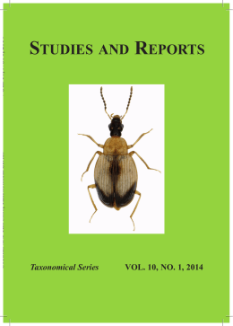 Taxonomical Series VOL. 10, NO. 1, 2014 STUDIES AND REPORTS