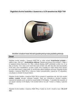 Digitální dveřní kukátko s kamerou a LCD monitorem HQS-700