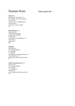 Seznam katalog HP 2. - Výstaviště České Budějovice as