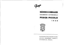 Praga Piccolo 1939 - Návod k obsluze