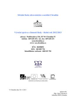 Výroční zpráva - Zdravotní a sociální škola Chrudim