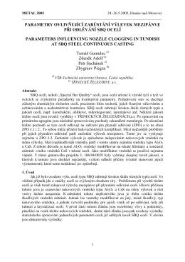 parametry ovlivňující zarůstání výlevek mezipánve při odlévání sbq