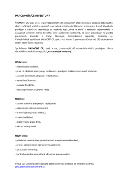 PRACOVNÍK/CE INVENTURY
