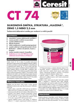 Technický list Ceresit CT 74 Silikonová omítka