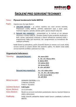 školení pro servisní techniky - Plynové kondenzační kotle BRÖTJE