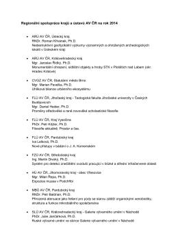 Regionální spolupráce krajů a ústavů AV ČR na rok 2014