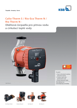 Calio-Therm S / Rio-Eco Therm N / Rio Therm N - Oběhová