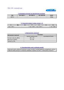 ČSN 11378 – konstrukční ocel 1. Orientační srovnaní se