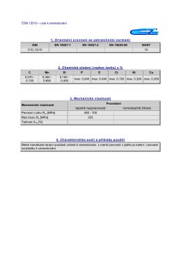 ČSN 12010 – ocel k cementování 1. Orientační srovnaní se