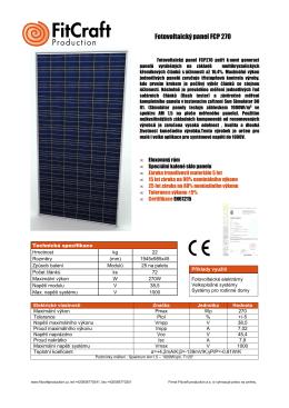 Vzor Fotovoltaický panel FCP270cz