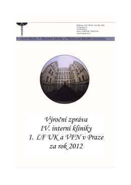 Výroční zprávu 2012 - IV. interní klinika