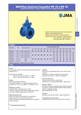 EKO-Plus Uzavírací šoupátko PN 10 a PN 16