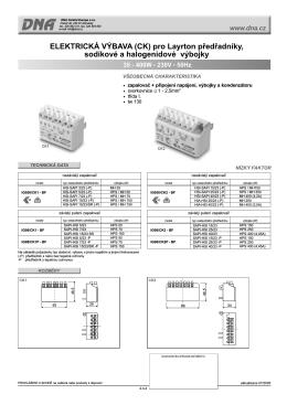 Katalogový list Elektrická výbava (set) IG...pro Layrton předřadníky