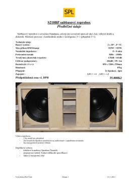 S218BP subbasový reprobox Předběžné údaje