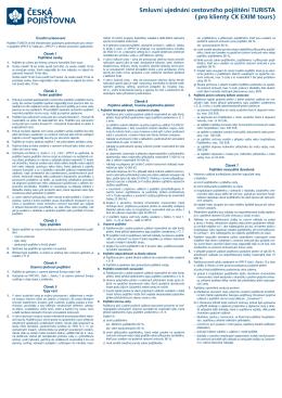 Smluvní ujednání cestovního pojištění TURISTA (pro