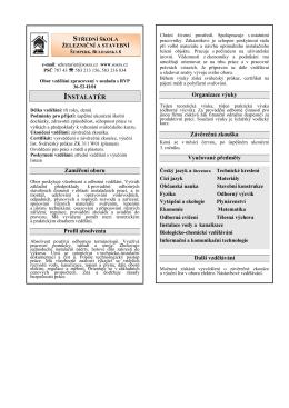 INSTALATÉR - Střední škola železniční a stavební, Šumperk