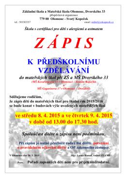 Mateřská škola Kovařovicova 11 - ZŠ a MŠ Olomouc, Dvorského 33