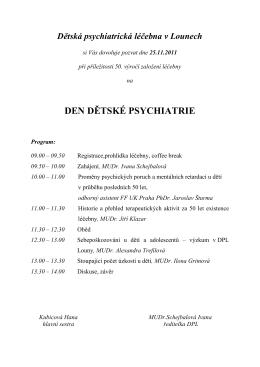 DEN DĚTSKÉ PSYCHIATRIE